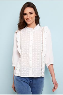 COTTON LACE SHORT SLEEVED SHIRT WITH RUFFLES  | BLOUSES/SHIRTS