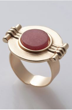 HANDMADE CARVED RING IN GOLD COLOR WITH A RED STONE    RINGS