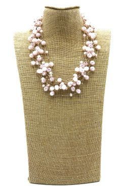 HANDMADE NECKLACE WITH PINK STONES    NECKLACES