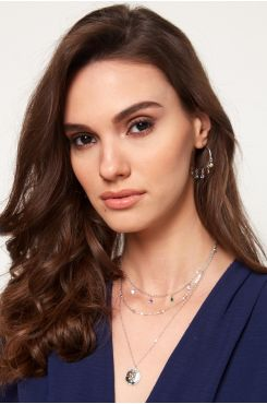 HANDMADE SILVER COLOR LAYERED NECKLACE WITH RHINESTONES    NECKLACES