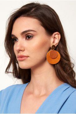 HANDMADE ROUND EARRINGS IN ORANGE AND BROWN COLORS    EARINGS