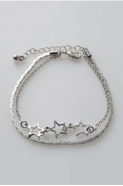 HANDMADE DOUBLE CHAIN BRACELET IN SILVER COLOR WITH STARS  | BRACELETS