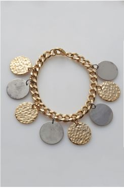 HANDMADE GOLD COLOR CHAIN BRACELET WITH CHARMS  | BRACELETS