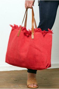 LARGE CORAL CLOTH SHOPPER BAG  | BAGS