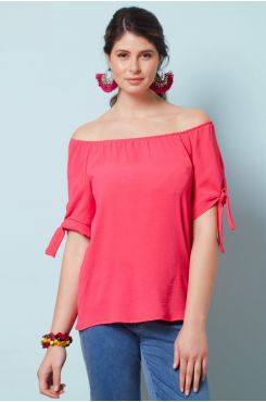 FUCHSIA BLOUSE WITH ELASTIC HEM ON THE SHOULDERS  | BLOUSES/SHIRTS