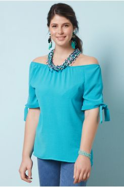 PETROL BLOUSE WITH ELASTIC HEM ON THE SHOULDERS  | BLOUSES/SHIRTS