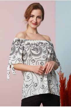 PATTERNED BLOUSE WITH ELASTIC HEMS ON THE SHOULDERS  | BLOUSES/SHIRTS
