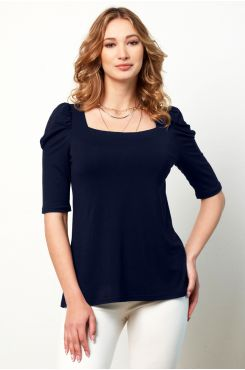 BLUE BLOUSE WITH SLEEVE SHIRRED DETAIL  | BLOUSES/SHIRTS