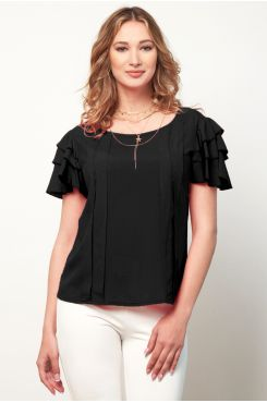 BLACK BLOUSE WITH RUFFLES AND SEQUIN  | BLOUSES/SHIRTS
