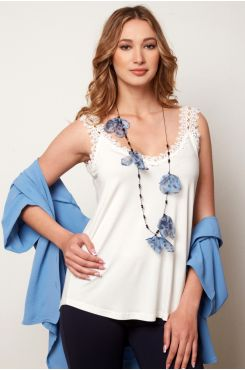 ECRU SPAGHETTI STRAP TOP WITH LACE  | BLOUSES/SHIRTS