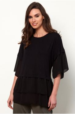 BLACK BLOUSE WITH RUFFLES AND BUTTON TYING  | BLOUSES/SHIRTS