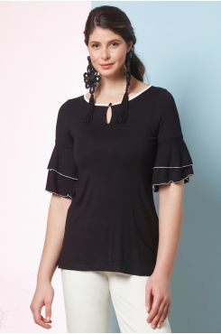 BLACK BLOUSE WITH RUFFLE SLEEVES AND BUTTON NECK  | BLOUSES/SHIRTS
