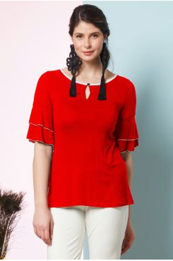 CORAL BLOUSE WITH RUFFLE SLEEVES  | BLOUSES/SHIRTS