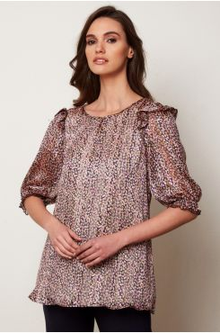 PATTERNED BLOUSE WITH RUFFLES  | BLOUSES/SHIRTS