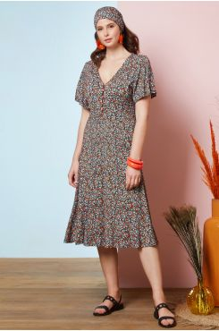 PATTERNED DRESS WITH BUTTONS  | DRESSES
