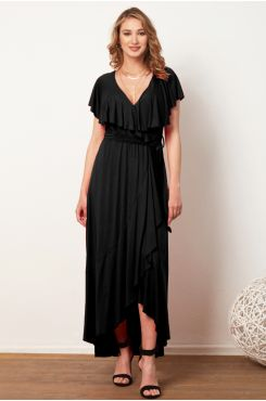 BLACK ASYMMETRIC MAXI DRESS WITH RUFFLES  | DRESSES