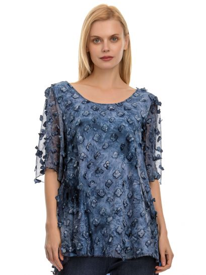 MUSLIN BLOUSE WITH TEXTURE DETAILS    BLOUSES/SHIRTS
