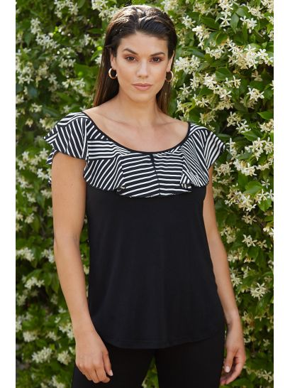SLEEVELESS BLOUSE WITH PATTERNED RUFFLES    BLOUSES