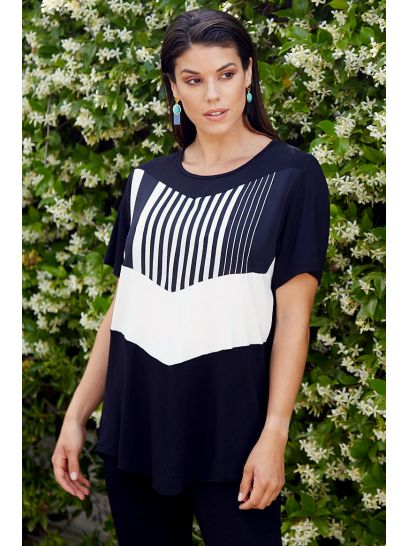 BLOUSE WITH STRIPED PRINT DESIGN    BLOUSES