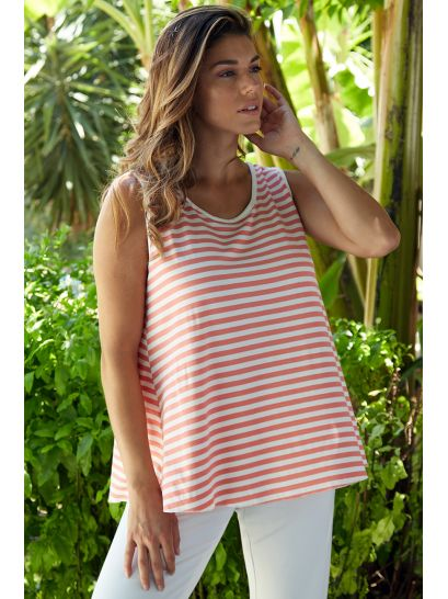 CORAL STRIPED TOP WITH STRAP SLEEVE  | BLOUSES