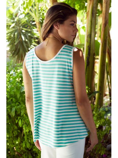 MINT STRIPED TOP WITH STRAP SLEEVE    BLOUSES