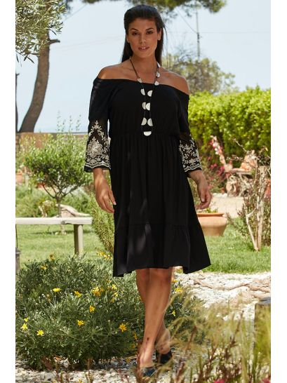 DRESS WITH EMBROIDERY  | DRESSES