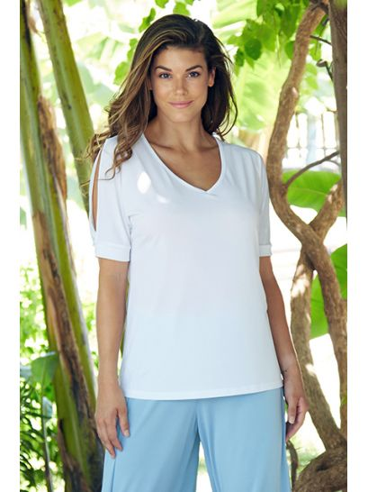 WHITE BLOUSE WITH SHOULDER SLITS    BLOUSES