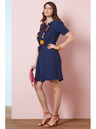 BLUE SHIRT DRESS WITH BUTTONS  | DRESSES