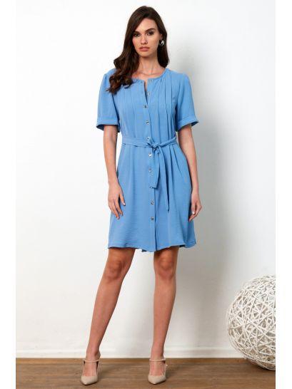 LIGHT BLUE SHIRT DRESS WITH BUTTONS    DRESSES