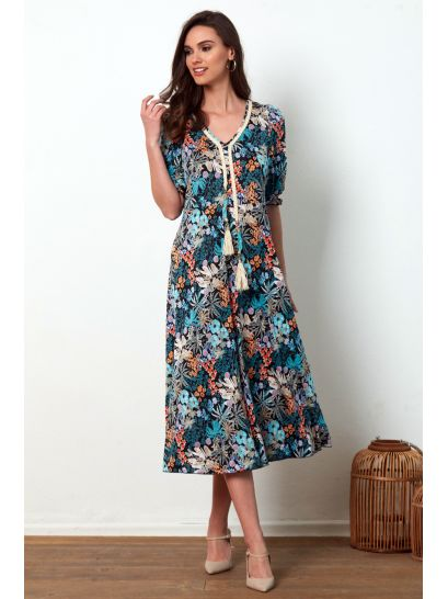 PATTERNED DRESS WITH NECK DETAIL  | DRESSES