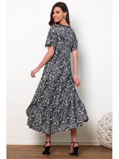 PATTERNED WRAPAROUND MAXI DRESS WITH RUFFLES    DRESSES