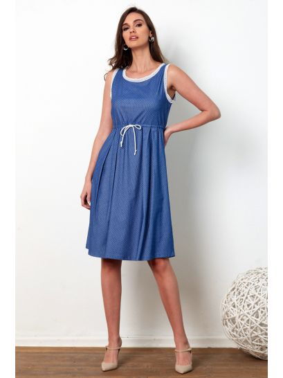 SLEEVELESS JEAN DRESS WITH LACE DETAILS  | DRESSES