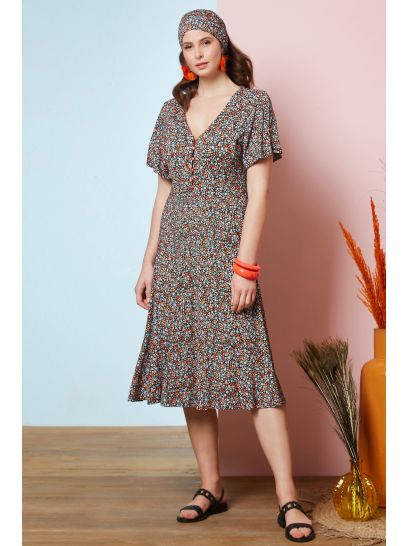 PATTERNED DRESS WITH BUTTONS    DRESSES