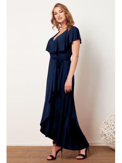 BLUE ASYMMETRIC MAXI DRESS WITH RUFFLES  | DRESSES